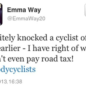 Tweeting '#bloodycyclists' motorist suspended from her job